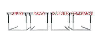 Rules Laws Policies Jumping Hurdles Legal Business Stock Photo