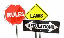 Rules Laws Regulations Stop Yield Road Signs. 3d Illustration Royalty Free Illustration