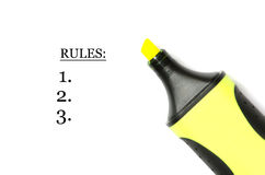 Rules. List with three points and yellow marker Stock Images