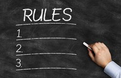Rules List written on the blackboard royalty free stock photo