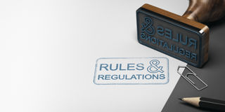 Rules and Regulations Background. 3D illustration of a rubber stamp with other office supplies and the text rules and regulations on a sheet of paper Stock Image