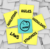 Rules Regulations Laws Standards Sticky Notes Stressed Face Royalty Free Stock Photos