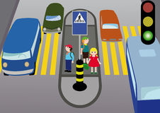 Rules of road. Pedestrians  children standing on a pedestrian crossing on the island safety Royalty Free Stock Images