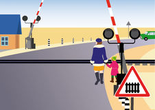 Rules of road. Regulated railway crossing. Stock Photos