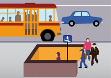 Rules of road. Schoolchildren go to the underpass in the city Royalty Free Stock Photography