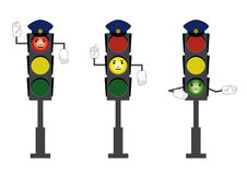 Rules of the road. Traffic light in the form of police with  prohibiting, preventing and  the enable signal   on white background. Rules for pedestrians Royalty Free Stock Photo