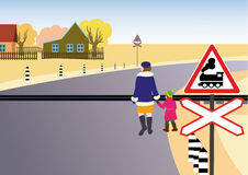 Rules of road. Unregulated railway crossing. Stock Photography