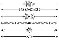 Rules or Rule lines. Victorian floral rule lines or scrolls Stock Photos
