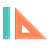 Rules school supply icon. Set of measuring tools: rulers, triangles. Vector school instruments isolated on white background. rules school supply icon. Correct Royalty Free Stock Images