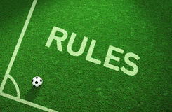 Rules soccer field. Soccer field with the word Rules sprayed on. 3D Render Royalty Free Stock Images