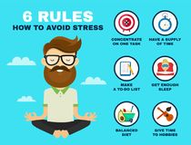 6 rules to avoid stress infographic. Young hipster guy man in lotus pose relax. Vector flat cartoon character illustration icon design. Stress infographic royalty free illustration