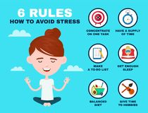 6 rules to avoid stress infographic. Young. Hipster guy man in lotus pose relax. Vector flat cartoon character illustration icon design. Stress infographic vector illustration