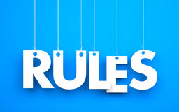 Rules words hanging on blue background. 3d illustration Stock Photography