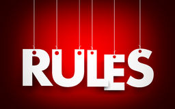 Rules words hanging on red background. 3d illustration Stock Photography