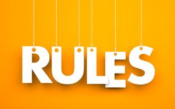 Rules - words hanging on rope Royalty Free Stock Photos