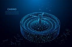 Ruleta bajo la forma de cielo o espacio estrellado Concepto del CASINO Diseño del vector del polígono Concepto del wireframe del  ilustración del vector