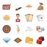 Ruleta, tarjetas, crupié, alcohol, y otro cualidades Casino e iconos determinados de juego de la colección en estilo de la histor Foto de archivo