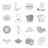Ruleta, tarjetas, crupié, alcohol, y otro cualidades Casino e iconos determinados de juego de la colección en la línea vector del Foto de archivo libre de regalías