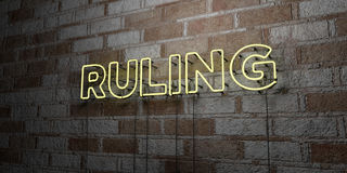 RULING - Glowing Neon Sign on stonework wall - 3D rendered royalty free stock illustration Stock Photos