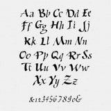 Ruling pen script lettering font, handwritten Royalty Free Stock Photo