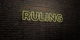 RULING -Realistic Neon Sign on Brick Wall background - 3D rendered royalty free stock image Royalty Free Stock Photos