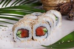 Rulla med rökte laxen för sesam sushi, gurkan, tropiska sidor, stillebenmat Arkivbild