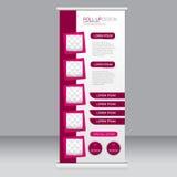 Rulla upp banerställningsmallen Abstrakt bakgrund för designen, affär, utbildning, annonsering Rosa färg Vektorillustrati Arkivfoton
