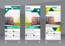 Rulla upp mallen för lodlinjen för designen för banret för affärsbroschyrreklambladet Royaltyfri Foto