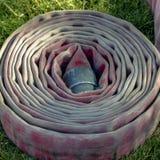Rullad ihop brandslang på en gräs- jordning royaltyfria bilder