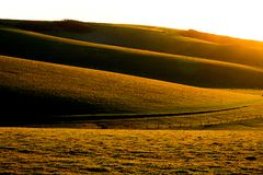 Rullande Englis kullar på solnedgången Arkivbilder
