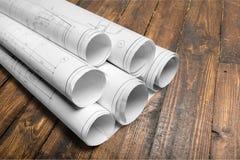Rullande husritning- och konstruktionsplan Arkivbild