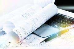 Rullande husritning- och konstruktionsplan Arkivbilder