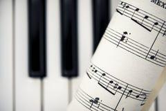 Tappningnotblad med pianot stämm Royaltyfria Foton