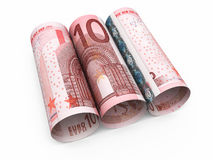 10 rullande sedlar för euro Royaltyfria Foton