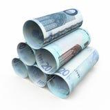 20 rullande sedlar för euro Arkivfoto