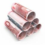 10 rullande sedlar för euro Arkivbild