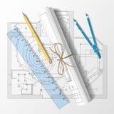 Rullande utkast med en blyertspenna, en linjal och passare Vektorillus Royaltyfria Bilder