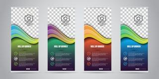 Rullar den olika affären för färg 4 upp Standeedesign banermall Presentation och broschyr också vektor för coreldrawillustration royaltyfri illustrationer