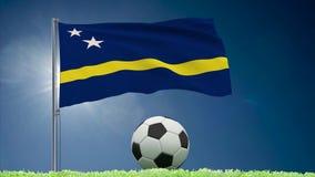 Rullar för Curacao flaggaför fladdra och fotboll royaltyfri illustrationer