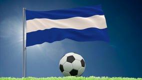 Rullar för El Salvador flaggaför fladdra och fotboll vektor illustrationer