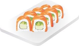 rullar sushi Läcker Asien kokkonstrestaurang Japansk mat Sushirulle med laxen, avokadot och gurkan stock illustrationer