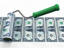 Rullborsten gör sedlar äganderätt för home tangent för affärsidé som guld- ner skyen till illustration 3d royaltyfri illustrationer