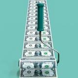 Rullborsten gör sedlar äganderätt för home tangent för affärsidé som guld- ner skyen till illustration 3d Vektor Illustrationer