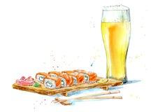 Rulle av en lax och ett ljust öl Japansk kokkonst stock illustrationer