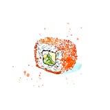 Rulle av en tobiko, en ost och en gurka Japansk kokkonst vektor illustrationer
