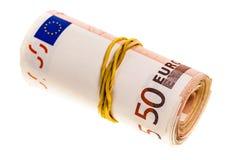 Rulle av euro Arkivbilder