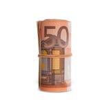 Rulle av 50 euroräkningar Royaltyfri Bild