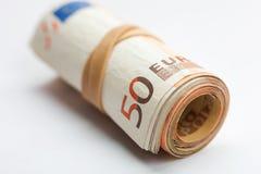 Rulle av eurosedlar Arkivfoton