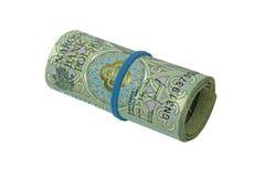 Rulle av hundra zlotysedlar med ett rubber musikband Fotografering för Bildbyråer