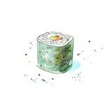 Rulle av ost och gurkan Japansk kokkonst stock illustrationer